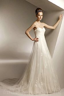 Tulle Applique Strapless Chapel Tie Back  Bodice Online Hot Bridal Gowns UK