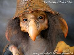 Look this cute selfie :D Desmond the throwing of acorns .Froud Style. Ooak Art Doll polymer clay One of a Kind Fantasy Sculpture.