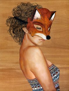 """Fox Masque"" - Charmaine Olivia, oil on panel, 2009 {figurative realism artist female head animal woman face painting} charmaineolivia.com"