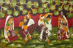 Musicians and Dancer (Batik Painting on Cotton Cloth - Unframed))