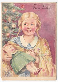 non viaggiata-MINCATO-cartolina-Ed.FRATINI-bambina-bambola-illustratori-d'epoca