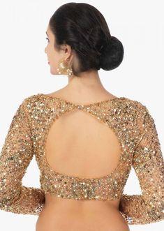 Gold Lehenga Choli With Sequins Embroidery Work Online – Kalki Fashion - bridge. Choli Blouse Design, Saree Blouse Neck Designs, Fancy Blouse Designs, Bridal Blouse Designs, Gold Lehenga, Lehenga Choli, Yellow Lehenga, Bridal Lehenga, Sarees