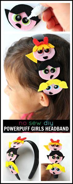 No Sew Powerpuff Girls Headband DIY | Make this adorable Powerpuff Girls hair accessory to celebrate the trio's new home on @hulu – Raising Whasians #PowerpuffonHulu #ad