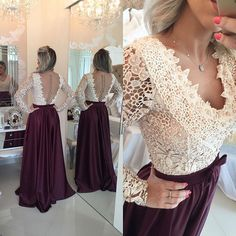 2016 Burgundy Long Prom Dresses Lace Long Sleeves Pearls Sheer Backless Elegant A-line Evening Gowns_Prom Dresses 2016_Prom Dresses_Special Occasion Dresses_Buy High Quality Dresses from Dress Factory - Babyonlinedress.com