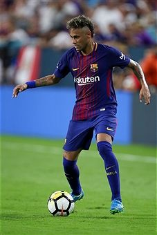 Neymar of FC Barcelona during the International Champions Cup 2017 match between Real Madrid and FC Barcelona at Hard Rock Stadium on July 2017 in Miami Gardens, Florida. Fc Barcelona, Real Madrid, Messi And Neymar, International Champions Cup, Miami Gardens, Football Wallpaper, Football Players, Ronaldo, Hard Rock