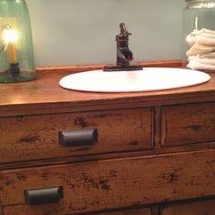 Old dresser used as a bathroom sink vanity GORGEOUS! Vanity, Dresser Sink, Bathroom Sink Vanity, Small Bathroom Decor, Small Bathroom, Bathroom, Sink, Bathroom Redo, Bathroom Inspiration