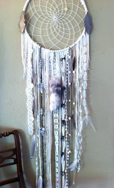 DIY DreamCatcher #boho #home #interior #bedroom #white #grey #feather #bead #lace