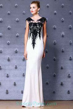 Embroidery Beaded Black And White Mermaid Evening Dreses ALS,Embroidery Beaded Black And White Mermaid Evening Dreses ALS Affordable Evening Dresses, Formal Evening Dresses, Embroidery Dress, Beaded Embroidery, Black And White Evening Dresses, Mermaid Evening Dresses, Wedding Dresses, Fashion, Stylish Dresses