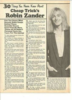 Robin Zander - old magazine article