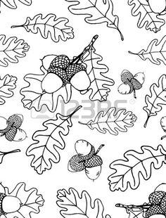Seamless de main tir des feuilles et de glands de ch ne Banque d'images