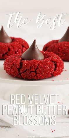 These are an updated version of the classic Peanut Butter Blossom, but so pretty and so festive! # holiday Baking Red Velvet Kiss Cookies, the perfect holiday cookie! Cookies Box, Kiss Cookies, Cookies Et Biscuits, Sugar Cookies, Valentine Cookies, Cookie Favors, Baby Cookies, Cookie Cups, Heart Cookies