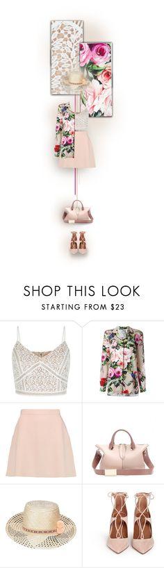 """Dolce and Gabbana Rose Print Pyjama Shirt"" by mrsgena ❤ liked on Polyvore featuring New Look, Dolce&Gabbana, Être Cécile, Chloé, YOSUZI, Aquazzura, dolceandgabbana and oversizedfloral"