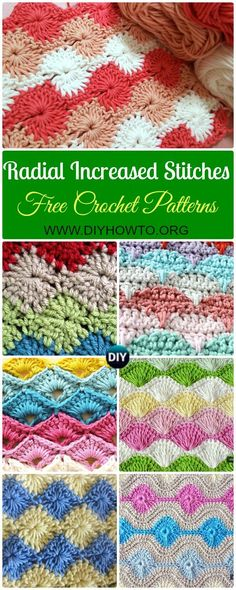 Crochet Increased Stitch Free Patterns: Star Stitch, Catherine Wheel Stitch, Shell Stitch, Clamshell Stitch, Scallop Stitch, Arcade, Harlequin Stitch via @diyhowto