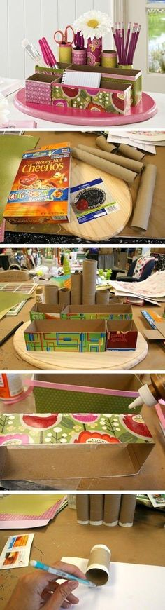 I need to make this. My desk is a mess and using old cereal boxes and toilet rolls are a great idea. DIY