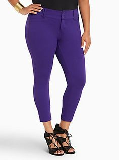 f7ad582b2ee444 Plus Size Cropped Trouser Pant - Purple All-Nighter Ponte, VIOLET INDIGO  Trouser Pants