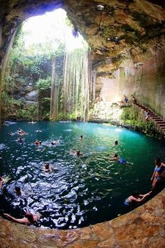 I must go here! Cenote - Chichen-Itza, Mexico - If you like travel take a look at our latest travel accessories. List - > http://kickstartsaving.com/category/hot-product-deals/hot-product-travel-accessory/