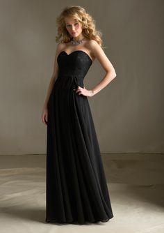 black-lace-sweetheart-neckline-bodice-chiffon-floor-length-bridesmaid-dresses-by-mori-lee-68214181790773.jpg (600×850) Bridesmaidnightgirl