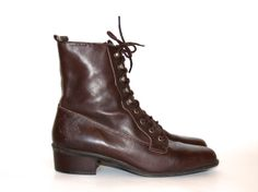 Brown Leather Lace-up Booties - Size 7 1/2 - Enzo Angiolini - 1980s - Boots - City Slicker