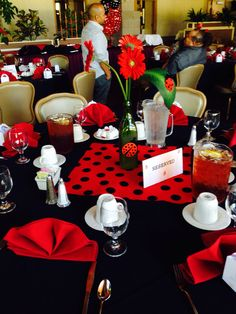 Tables I decorated for my sister-in-laws baby shower, ladybug theme