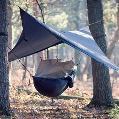 OK, so this is pretty rad.  A hammock, sleeping canopy covered by a tarp...  All in a little itty bitty bag!  #camping #outdoors #sleeping