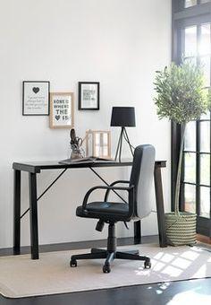 Bureau KETTINGE glazen blad zwart