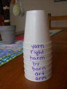 ABC Order Cups ... this would be fun to have group competitions! Plus, you can mix up the cups often!