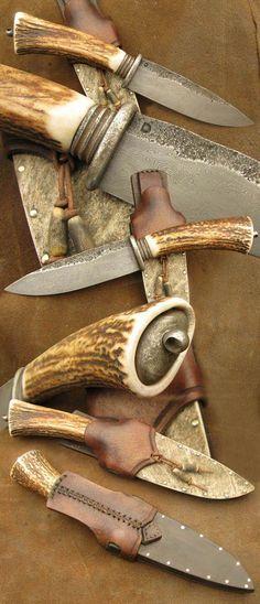 knife making kit with tools Cool Knives, Knives And Swords, Antler Knife Handle, Trench Knife, Forged Knife, Bushcraft Knives, Best Pocket Knife, Knife Handles, Knife Sheath