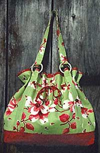 drawstring bag, good for large scale patterns where you don't want to chop the fabric up