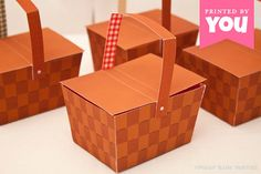 Picnic Basket Favor Box : DIY Printable PDF - Instant Download Picnic themed baby shower