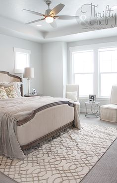Farmhouse styled bedroom decor and decorating ideas. Master bedroom inspiration. Neutral farmhouse bedroom decor.