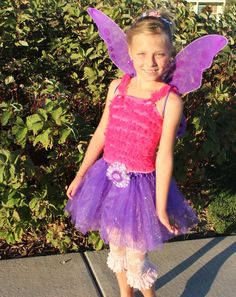 Hot Pink and Purple Fairy 4 piece costum set fits 2 toddler to 8 year old sizes are ready to ship