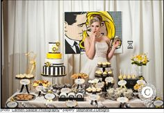 yellow black white modern candy dessert bar display. I have a great comic pixel costume to go with this decor.
