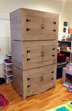 3 Tiered Pallet Boxes #Cabinet - 130+ Inspired Wood Pallet Projects | 101 Pallet Ideas - Part 4