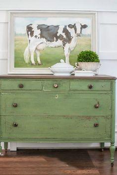 Green painted dresser.