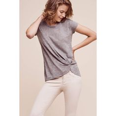 Stateside Gathered Tee ($72) ❤ liked on Polyvore featuring tops, t-shirts, grey, ruched t shirt, gray tees, grey tee, shirred t shirt and stateside tee