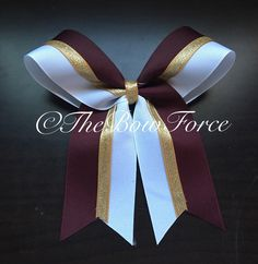 A personal favorite from my Etsy shop https://www.etsy.com/listing/385323688/maroon-white-gold-cheer-bow
