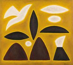 JOHN COBURN - Yellow Landscape with White Bird