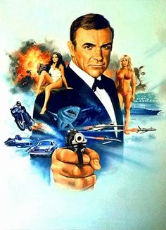 Illustrated 007 - Artwork, illustrations and design from the world of James Bond James Bond Movie Posters, Action Movie Poster, James Bond Movies, Movie Poster Art, Casino Royale, 007 Theme, Sean Connery James Bond, James Bond Party, George Lazenby