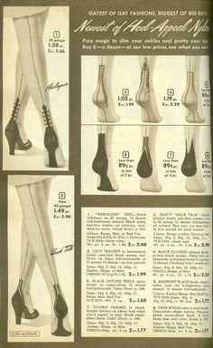 vintage nylon stockings advertisement - gayest of gay, fancy heels Vintage Stockings, Nylon Stockings, Vintage Advertisements, Vintage Ads, Retro Advertising, Burlesque, 1940s Fashion, Vintage Fashion, Pinup