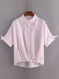 Blusa rayas verticales asimétrico plisado -rosa