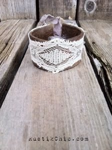 rustik chic - upcycled antique lace ribbon leather cuff