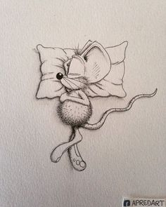 11-Sleeping-Loïc-Apreda-apredart-Drawings-of-Rikiki-the-Mouse-and-his-Famous-Friends-www-designstack-co