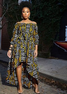 Afua African Print High-Low Off-Shoulder Maxi Dress (Black Gold Mudcloth) African Dresses Plus Size, African Maxi Dresses, African Fashion Ankara, Latest African Fashion Dresses, African Dresses For Women, African Print Fashion, African Attire, Women's Fashion Dresses, African Men