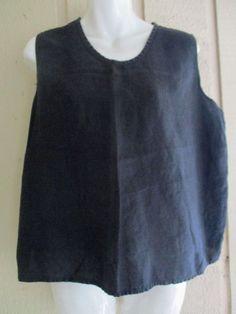 FLAX simple black linen tank M 46B #FLAXEngelhart #artsybohofunkylagenlooksimple