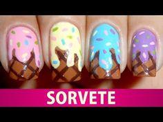 ▶ Unhas Decoradas de Sorvete - YouTube
