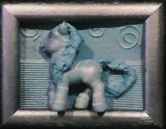 Quadro com relevo | poney azul e prateadi