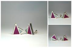 Angelina Jane - Contemporary geometric minimalist sliver and resin stud earrings Resin Jewellery, Clay Jewelry, Acrylic Resin, Contemporary Jewellery, Geometry, Cufflinks, Minimalist, Stud Earrings, Artist