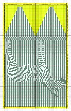 Полосатые жаккардовые варежки с зеброй
