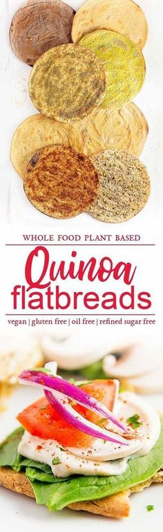 quinoa flatbreads, vegan, vegetarian, whole food plant based, gluten free, recipe, wfpb, healthy, oil free, no refined sugar, no oil, refined sugar free, dinner, side, side dish, dairy free, dinner party, entertaining #vegetariandish