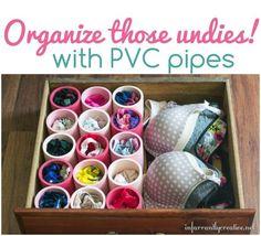 Drawer Organization Idea --- Organize those undies with PVC pipes!